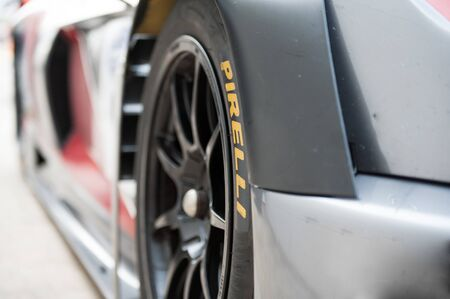pirelli: Vallelunga, Rome, Italy. September 10th 2016. Detail of slick racing tire on motor sport car with Pirelli name Editorial