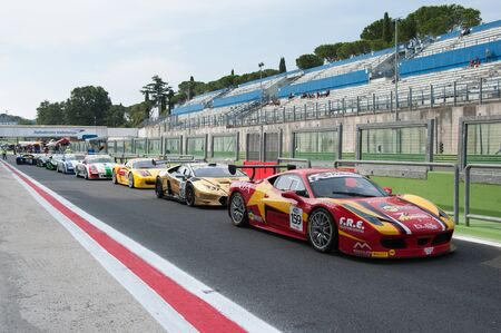 Vallelunga, Rome, Italy. September 10th 2016. Touring Car Championship, queue of cars in the pit lane before start