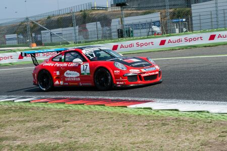 motorsport: Vallelunga, Rome, Italy. September 10th 2016. Porsche Carrera Cup, car in action at turn during the race