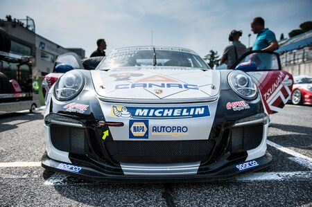 starting line: Vallelunga, Rome, Italy. September 10th 2016. Porsche Carrera Cup, car on starting line Editorial