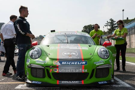 carrera: Vallelunga, Rome, Italy. September 10th 2016. Porsche Carrera Cup, car on starting line Editorial