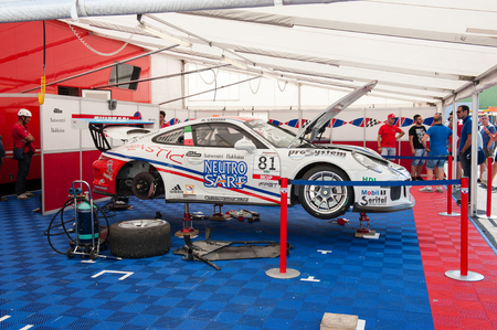 carrera: Vallelunga, Rome, Italy. September 10th 2016. Fine tuning Porsche Carrera before race in workshop Editorial