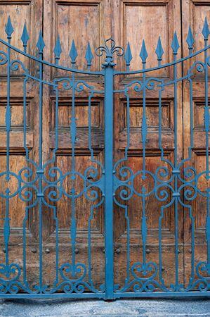 secured door: Secured closed main door building entrance with wooden door and wrought iron & Secured Door Stock Photos \u0026 Pictures. Royalty Free Secured Door ... Pezcame.Com