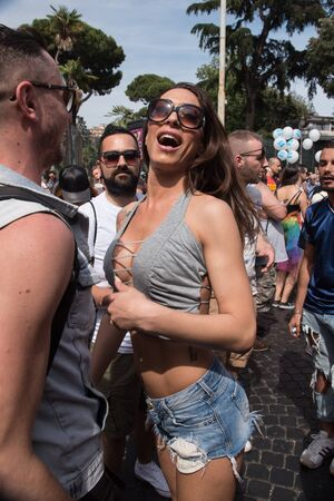 sexual orientation: Rome, Italy june 10th 2017. Transgender on the street during gay pride parade