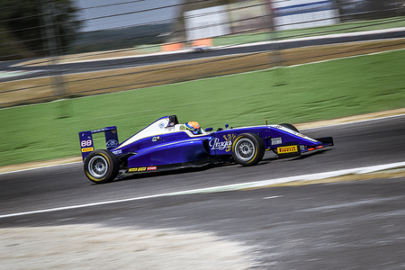 Vallelunga, Rome, Italy. June 24 2017. Italian Formula 4 Abarth championship, driver Leonard Hoogenboom in action during the race on Cram motorsport team car