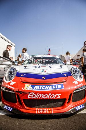 carrera: Vallelunga, Rome, Italy. June 24 2017. Italian Porsche Carrera Cup, cars, driver, mechanics and people show in paddock before the race