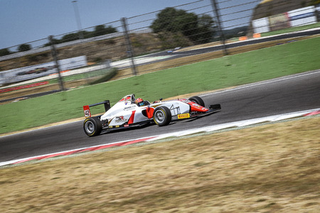Vallelunga, Rome, Italy. June 24 2017. Italian Formula 4 Abarth championship, driver Artem Petrov in action during the race on DR formula team car