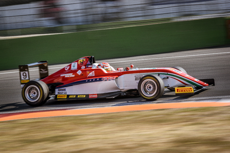 Vallelunga, Rome, Italy. June 24 2017. Italian Formula 4 Abarth championship, Marcus Armstrong driver in action on track on Prema Power Team car Editorial