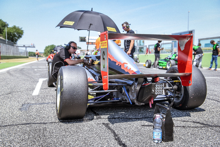 Vallelunga, Rome, Italy. June 24 2017. Italian Formula  4 Abarth championship, Lorenzo Colombo driver before the race his Bhaitech team car on starting grid before the race