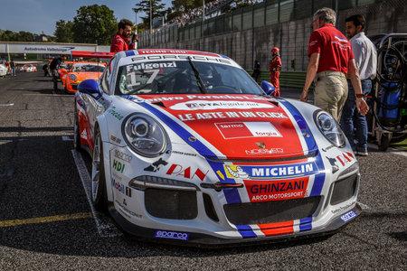 carrera: Vallelunga, Rome, Italy. June 24 2017. Italian Porsche Carrera Cup Enrico Fulgenzi racing driver on starting grid before race