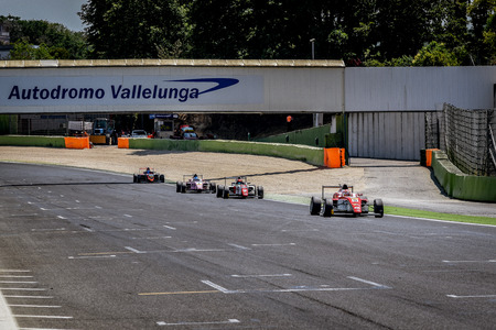 Vallelunga, Rome, Italy. June 24 2017. Italian Formula 4 Abarth championship, group of cars on start finish straight line during the race