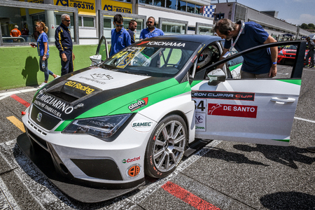 Vallelunga, Rome, Italy. June 24 2017. Seat Leon Cupra Cup racing, drivers Gabriele Volpato and Lorenzo Nicoli car, on circuit starting grid line up before race