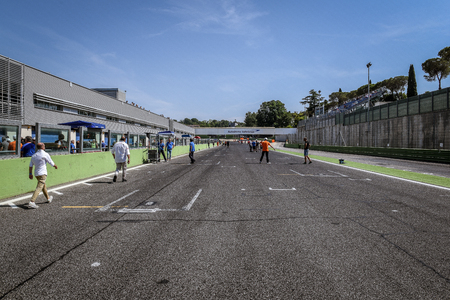 Vallelunga, Rome, Italy. June 24 2017. Straight circuit starting finish line without cars, people and marshals waiting for racing starting grid Editorial