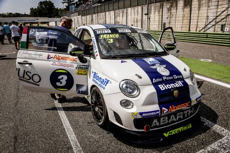 Vallelunga, Rome, Italy. June 25 2017. Trofeo Abarth Selenia, Fiat 500 cars on starting grid position with people around waiting for start signal