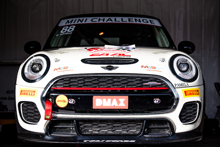 Vallelunga, Italy september 24 2017. Mini cooper racing car clean shiny front view of nose in the paddock Editorial