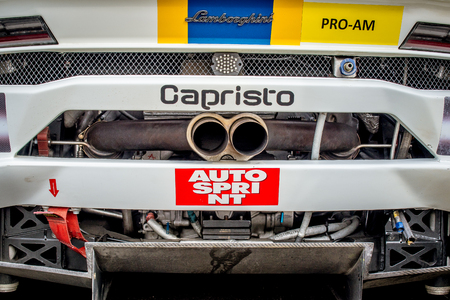 Vallelunga, Italy september 24 2017. Lamborghini huracan racing motorsport car exhaust pipe backside detail Editorial
