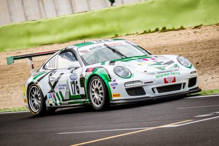 Vallelunga, Italy september 24 2017. Racing touring Porsche in action panning on turn on asphalt motorsport circuit closeup 版權商用圖片 - 88384904