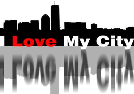 Skyline met uitdrukking I Love My City, adn met grafische zwart en rood liefde
