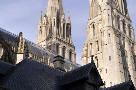 Detail of the bell towers of the Cathedral of Bayeux