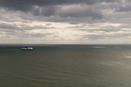 A ferry arriving at the port of Dover