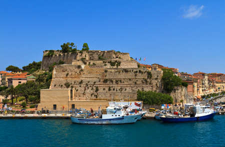 capraia: a part of the beautiful portoferraio, between ships, boats and ferries