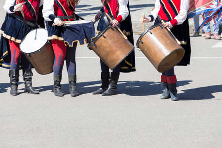 fanfare: ancient musicians in a medieval re-enactment Stock Photo