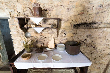 Old Rustic Kitchen Of A Medieval Castle Stock Photo