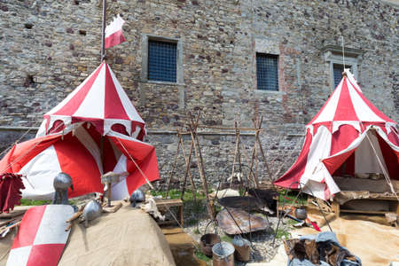 encampment: ancient encampment of warriors in an old castle