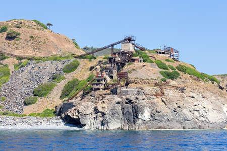 big and old mine on the coast