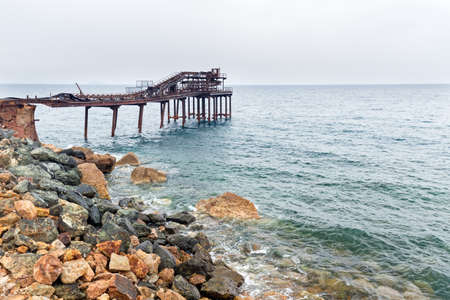 old iron pier for industrial use