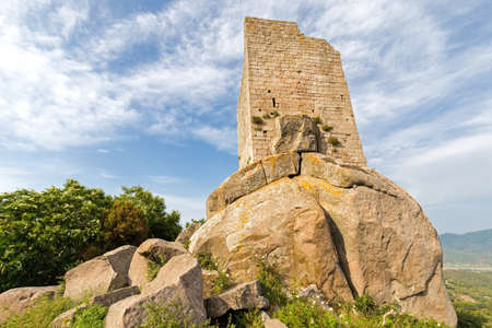 ancient medieval tower on the hill of the island
