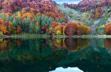 wonderful colors are reflected in the lake Stock Photo