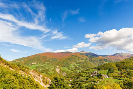 fantastic colors of the hills and the villages Stock Photo