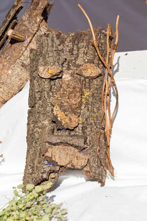 face in tree bark: hand made mask with bark