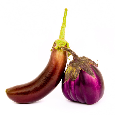 leaned: Two different species of eggplant leaned one another. An aubergine long and thin, the other low and round.