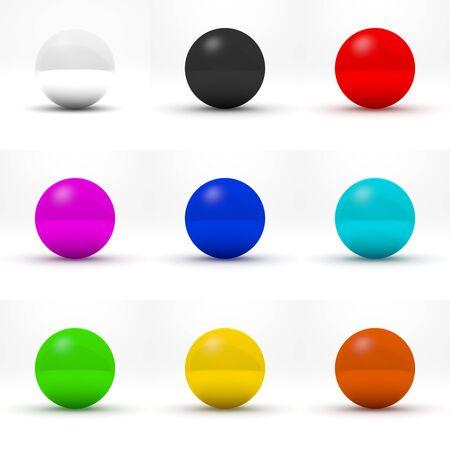 tridimensional: Nine multicolor spheres various colors. 3D render.