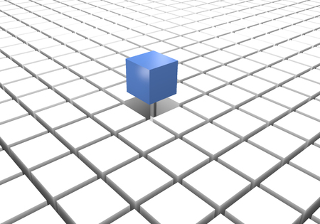 differentiate: Blue different cube on a floor of white cubes