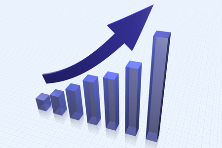 tridimensional: Graph and arrow showing growth of business Stock Photo