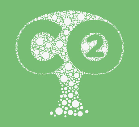 co2 emissions: Stylized tree formed by small circles, containing the words CO2 Illustration