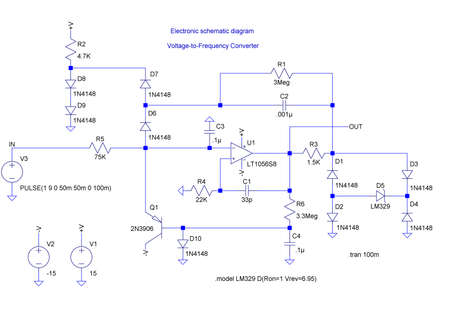 Electrical shematic diagram. Transistor, resistors, capatitors, diodes and other components.