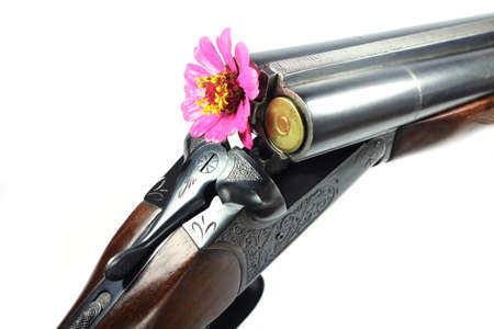 old rifle: Old rifle with a flower in the barrel on a white background