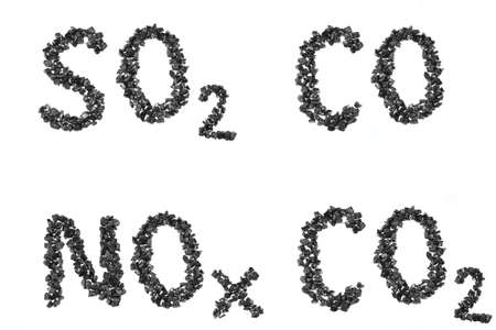 emissions: Formula emissions from pieces of charcoal on a white background