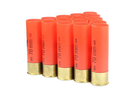 casings: Red casings from a shotgun on a white background