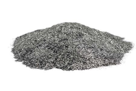 Handful, flake graphite on white background
