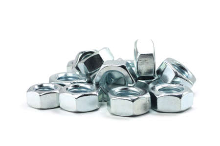 consumable: shiny anodized nuts on a white  Stock Photo