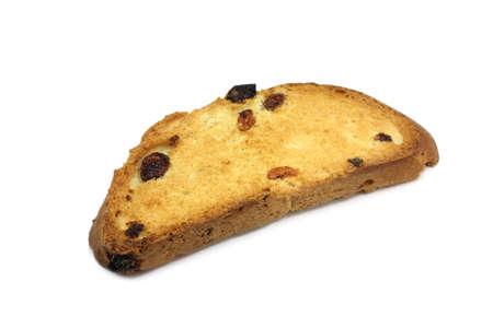 biscotte: biscotte doux avec des raisins secs sur fond blanc Banque d'images