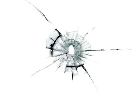 kogelgat in glas op witte Stockfoto