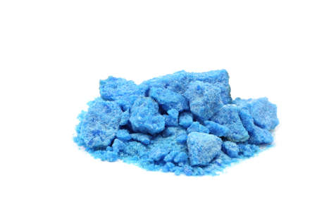 electroplating: Handful of blue salt isolated on white  Stock Photo