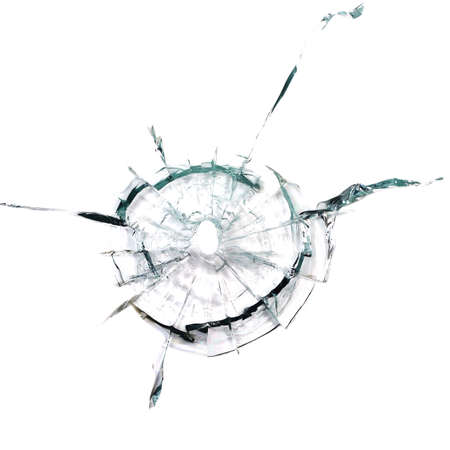 attempted: Through a bullet hole in the glass on white background Stock Photo
