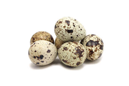 codorniz: el n�mero de huevos de codorniz en el fondo blanco Foto de archivo